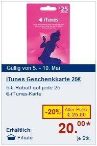 Lidl verkauft die 25 EUR-iTunes-Geschenkkarte für 20 EUR