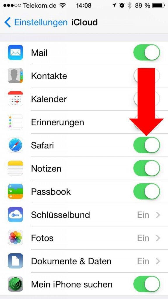 2 Einstellungen iCloud Safari