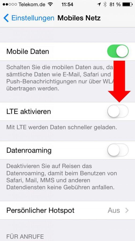 iPhone iPad Akku Strom sparen LTE ausschalten 2