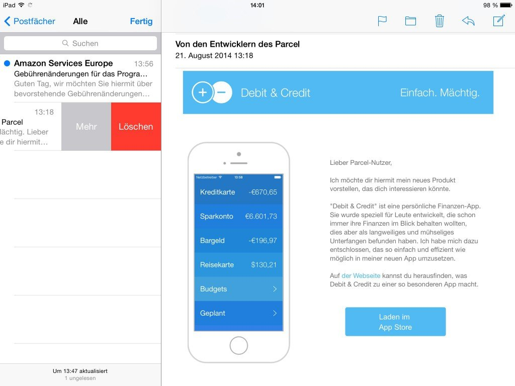 iPad E-Mail loeschen Streichgeste