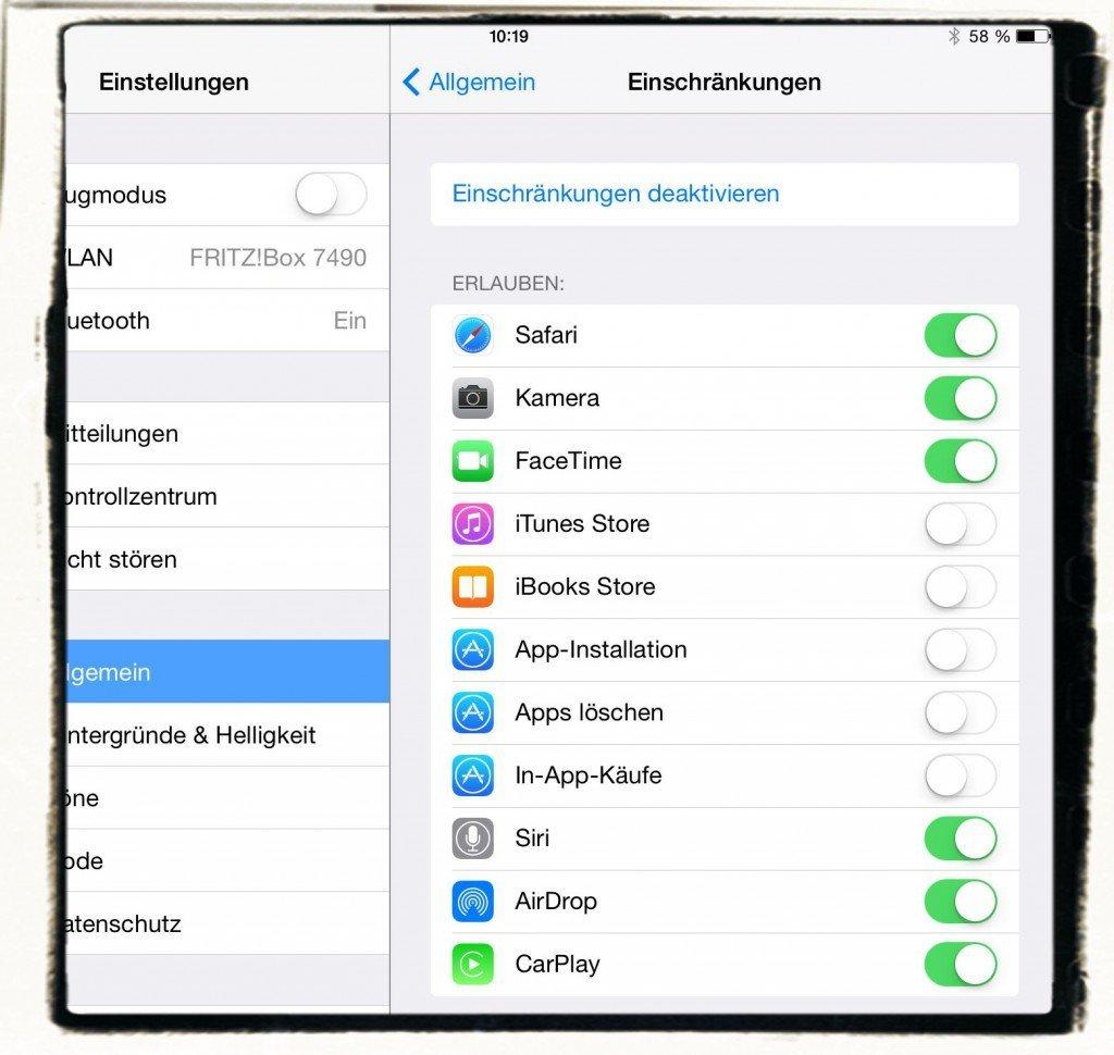 iPad Einschränkungen App sperren unberechtigt unbefugt Käufe Installation löschen 2