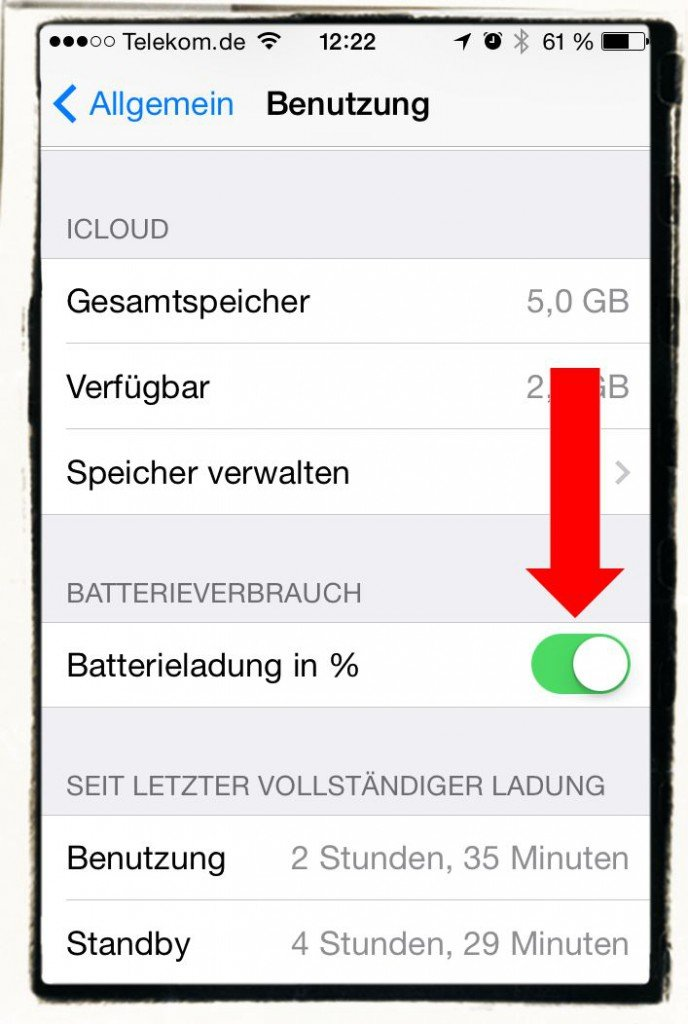 iPhone Akku Stand Akkustand Batterieladung Prozent 2