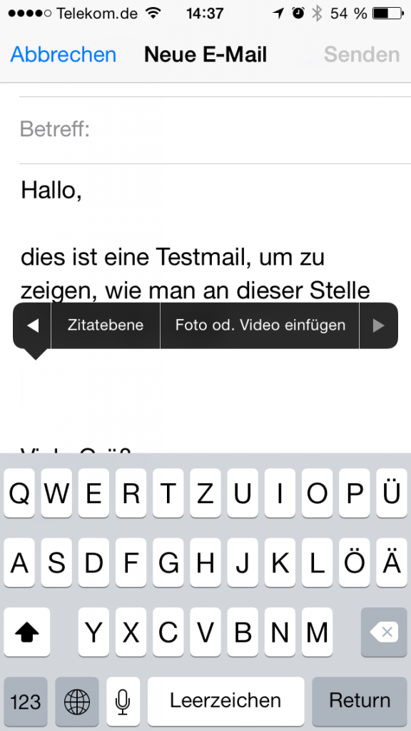 iPhone Foto Mail einfügen