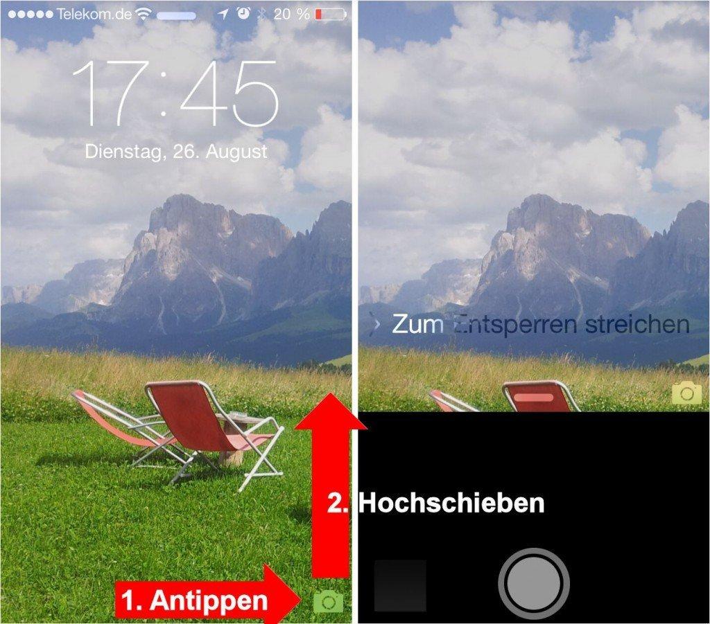 iPhone Kamera Schnellzugriff Kontrollzentrum 2