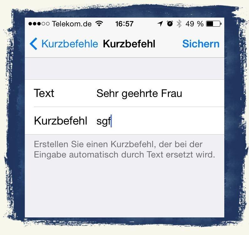 iPhone Kurzbefehl Textbaustein Microsoft Word 2
