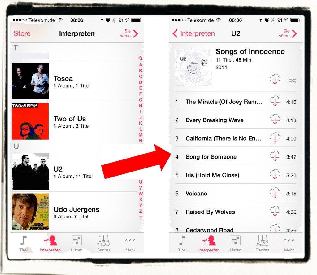 Apple iPhone 6 plus U2 Innocence Album iTunes löschen Speicher freimachen 1