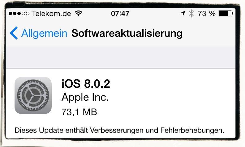 Apple,iOS8,iOS 8.0.2,Update,Bug,Kein Netzwerk
