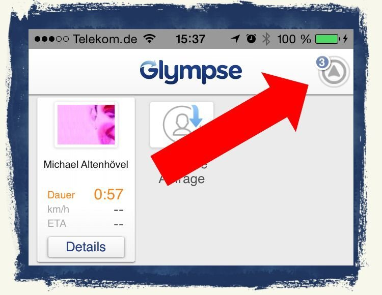 Standort teilen senden Glympse Ankunftszeit Geschwindigkeit 4