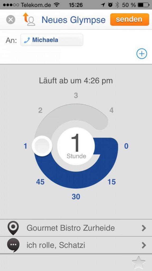Standort teilen senden Glympse Ankunftszeit Geschwindigkeit Dauer 2