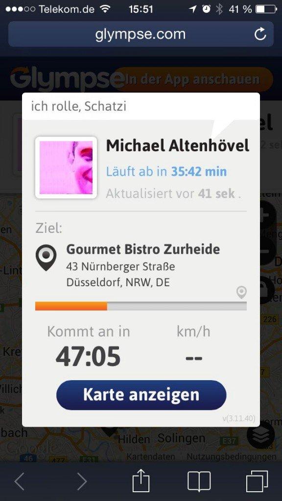 Standort teilen senden Glympse Ankunftszeit Geschwindigkeit Dauer 3