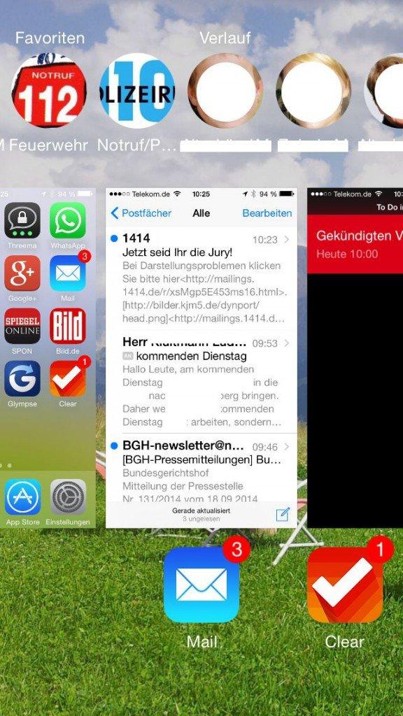 iOS8 iPhone Homebutton doppelt drücken Favoriten 1
