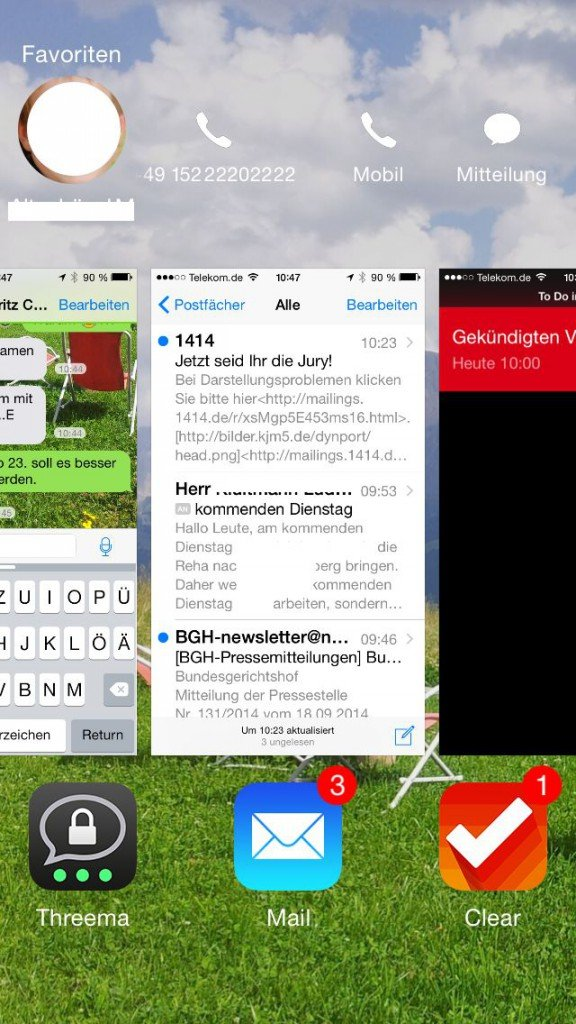 iOS8 iPhone Homebutton doppelt drücken Favoriten 2