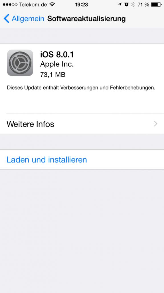 iOS8.01 Update Vorsicht 1