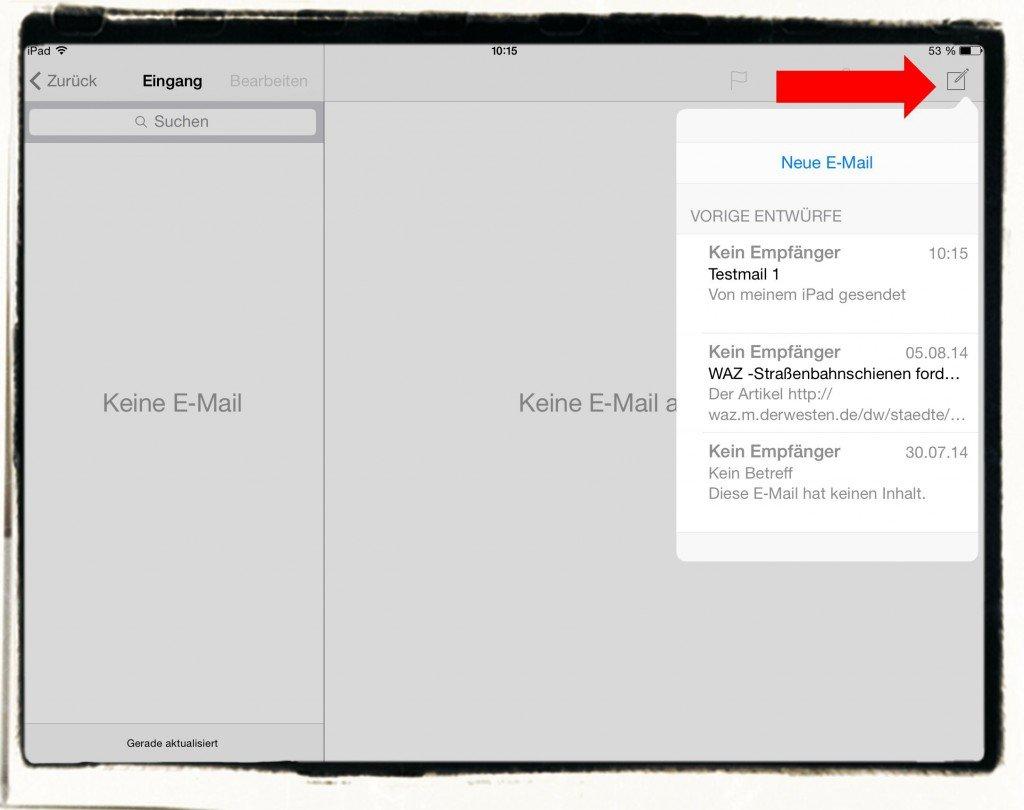 iPad E-Mail Entwurf Ordner verloren verschwunden 1