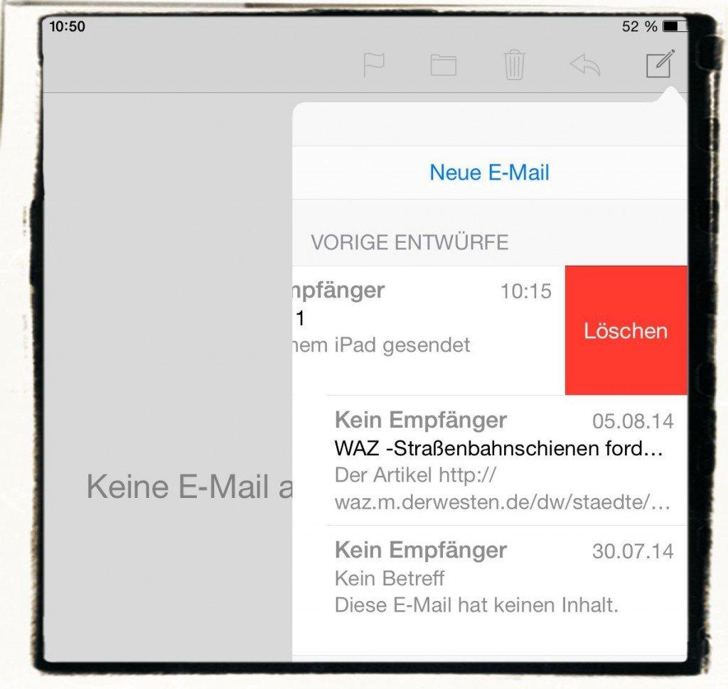 iPad E-Mail Entwurf Ordner verloren verschwunden 2