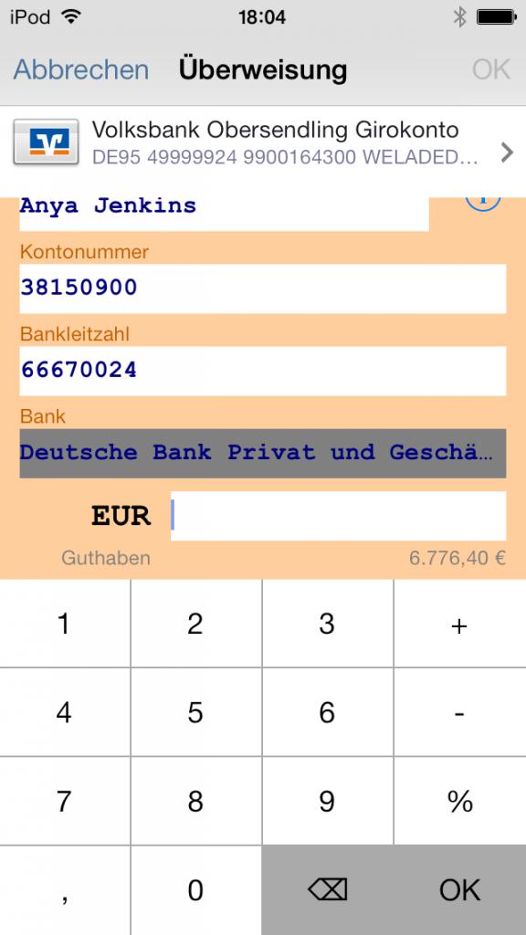 iPhone App Banking 4 Überweisung