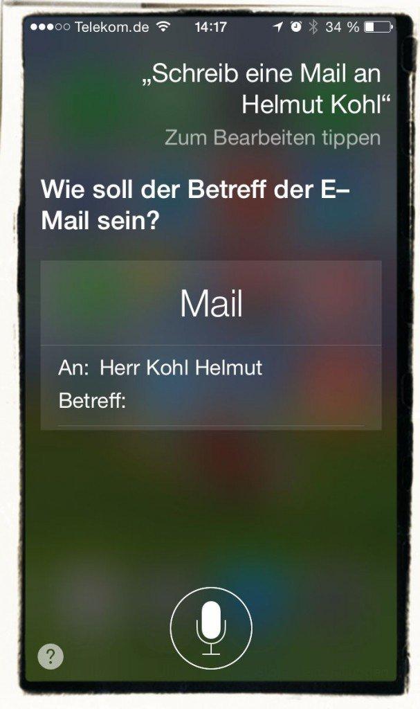 iPhone Mail schreiben Siri diktieren Kommandos 1