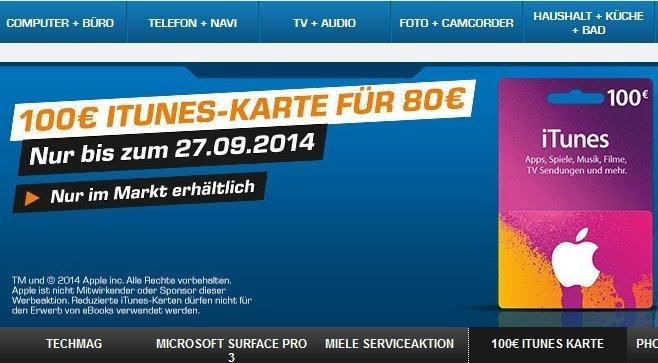 iTunes Geschenk Karte Rabatt Saturn 20 Prozent Nachlass Rabatt 100 EUR-Karte