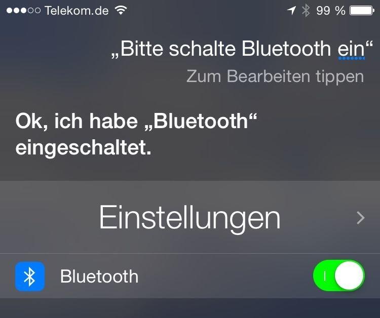 Siri Bluetooth einschalten ausschalten
