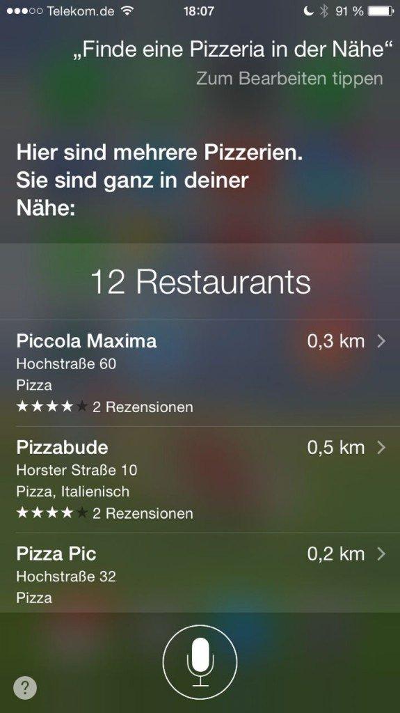 Siri Restaurant suchen 1