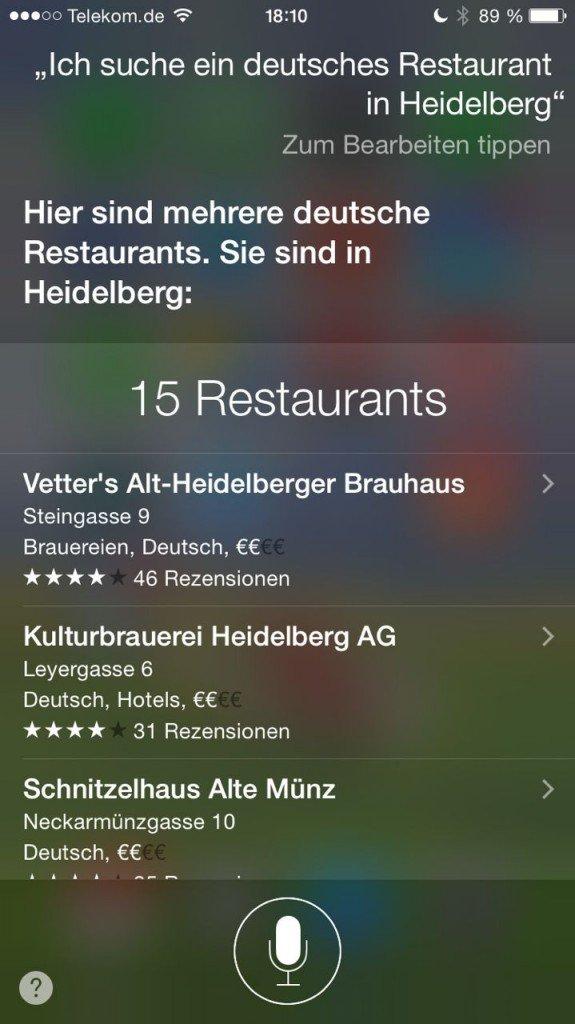 Siri Restaurant suchen 2