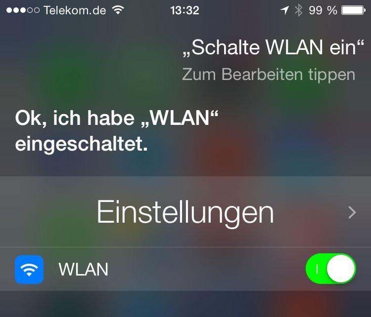 Siri WLAN einschalten ausschalten