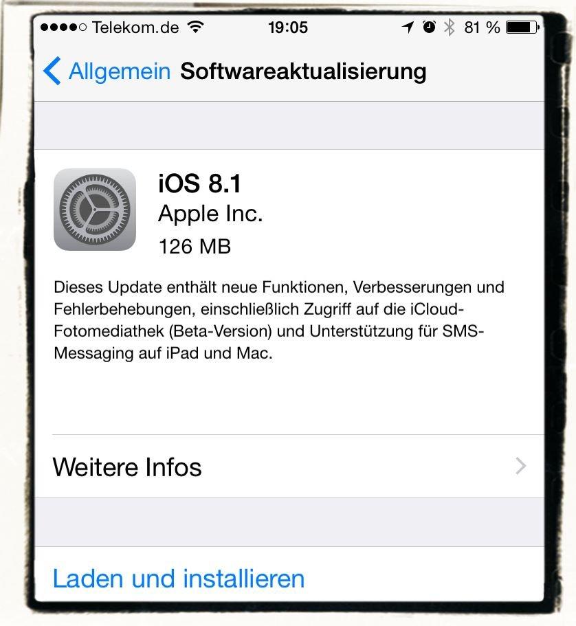 iOS 8.1 Update Laden und installieren 1