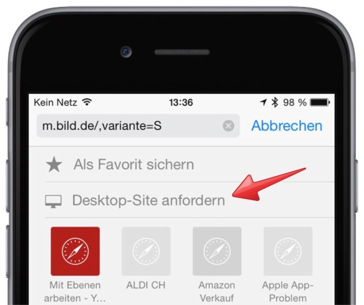 iPhone Safari Mobilansicht Desktop Ansicht Webseite Browser 2