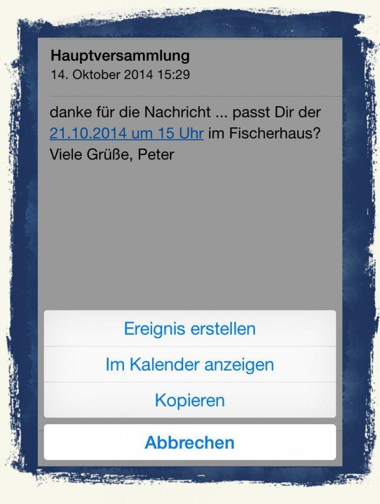 iPhone6,Termin,Kalender,Mail,übernehmen,eintragen 2