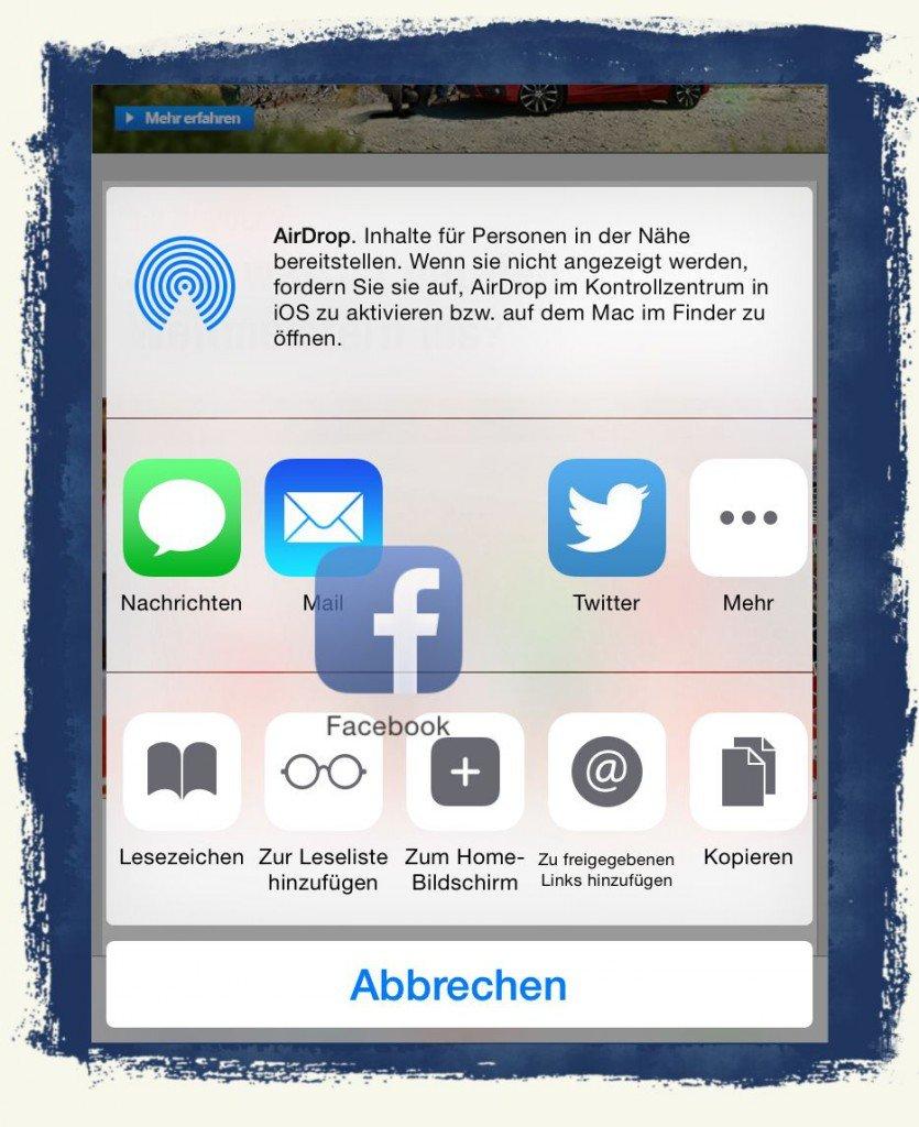 iPhone,6,iPhone6,Teilen,Button,verschieben,anordnen,Facebook,Twitter,Mail,Nachrichten,Mail,SMS 2