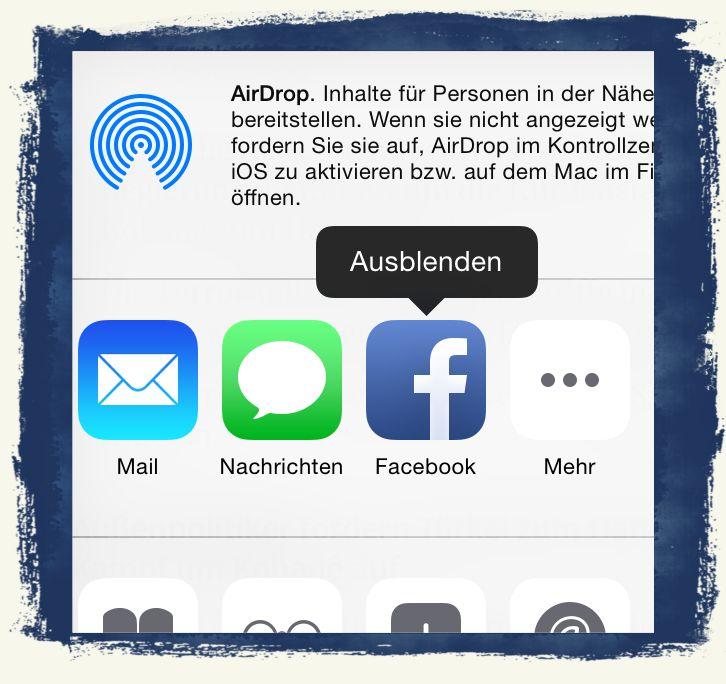 iPhone,6,iPhone6,Teilen,Button,verschieben,anordnen,Facebook,Twitter,Mail,Nachrichten,Mail,SMS,löschen 2