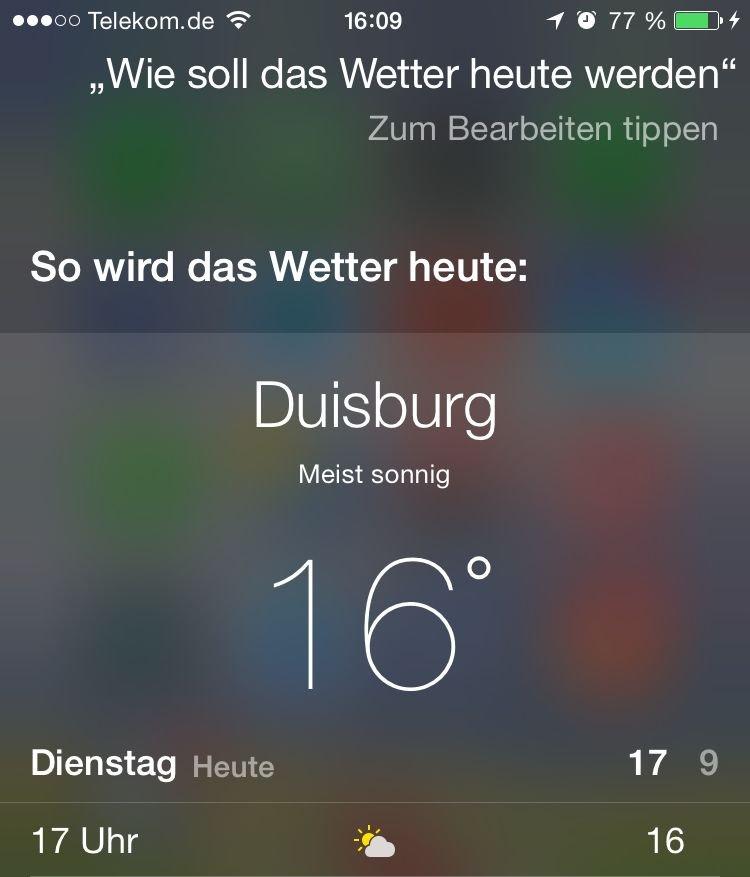 iPhone,Siri,App,Soprachkommando,Wetter,Urlaub,Heimat,Temperatur,Sonnenaufgang 1