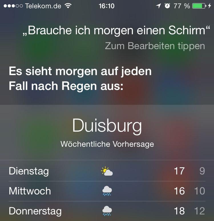 iPhone,Siri,App,Soprachkommando,Wetter,Urlaub,Heimat,Temperatur,Sonnenaufgang 2