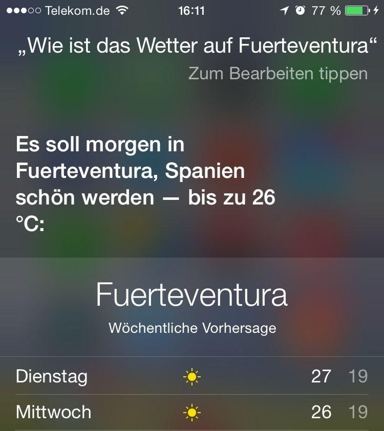 iPhone,Siri,App,Soprachkommando,Wetter,Urlaub,Heimat,Temperatur,Sonnenaufgang 3