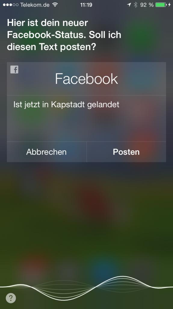 iPhone,iPhone6,iPhone 6, Apple,Siri,Sprachsteuerung,Sprachbefehl,Homebutton,Facebook,Status,posten,melden