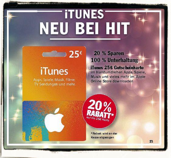 HIT iTunes Karte 25 EUR Rabatt 20 Prozent B