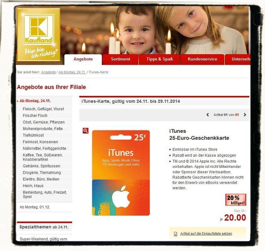 Kaufland iTunes Karte 25 EUR Rabatt 20 Prozent