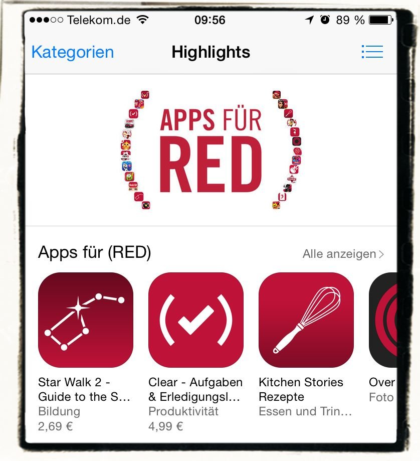 (RED),Clear,Global Fund to fight AIDS in Africa,Apple,Ap,Update,Unterstützung,App Store 1