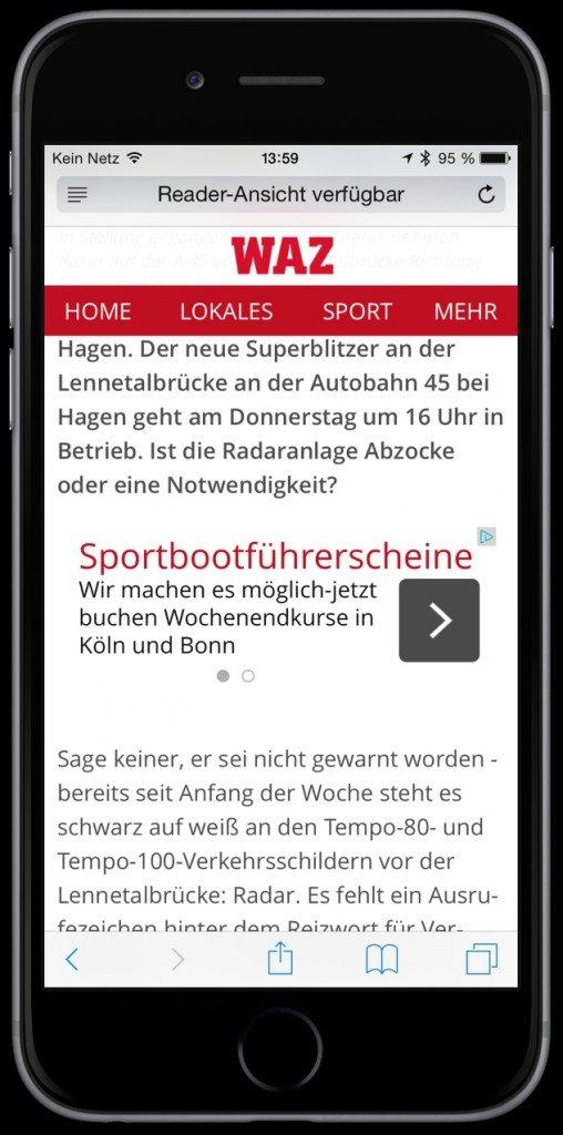 iPhone Safari lesen Reader-Ansicht Web Internet Zeitung Werbung 1