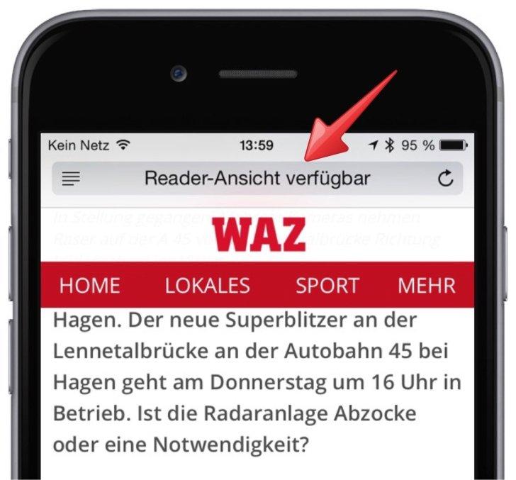 iPhone Safari lesen Reader-Ansicht Web Internet Zeitung Werbung 2