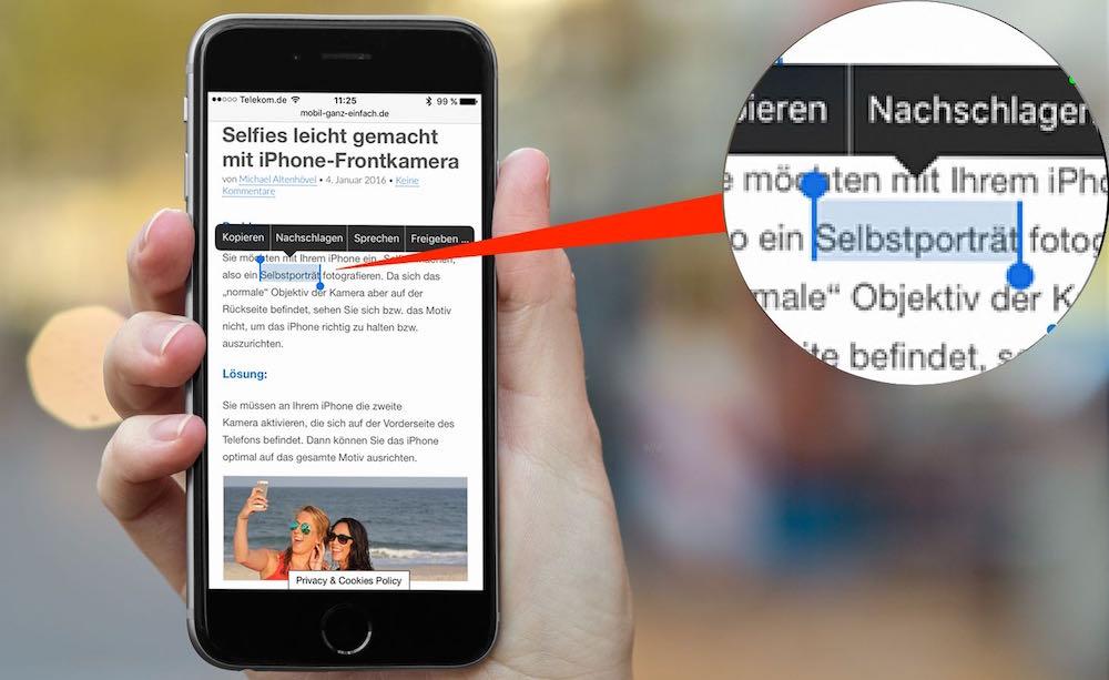 iPhone Text kopieren und woanders einfügen 1