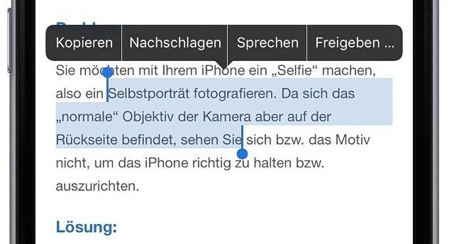 iPhone Text kopieren und woanders einfügen 2