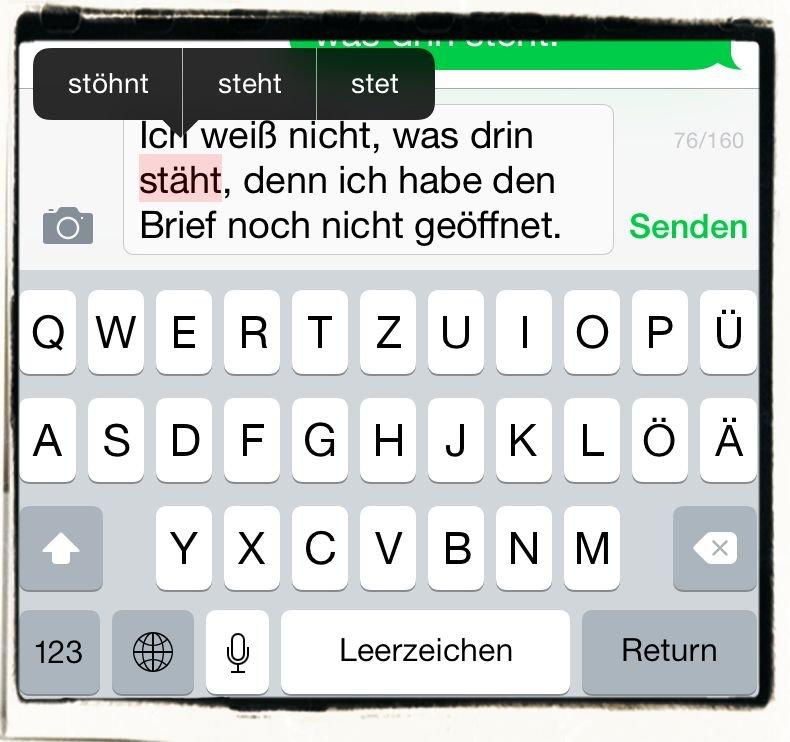 iPhone,Mail,SMS,Nachricht,iMessage,Text,Wort,korrigieren,Korrektur,Korrekturhilfe,2