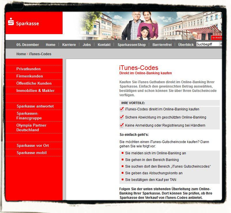 itunes karte rabatt online iTunes Karten Rabatt: 20% online bei den Sparkassen   Mobil ganz