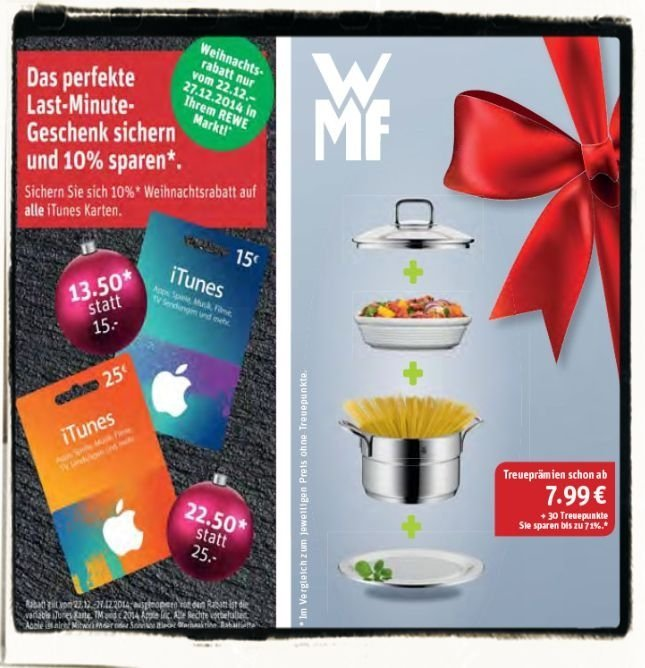 REWE,iTunes,Geschenkkarte,Rabatt,10 Prozent,günstiger