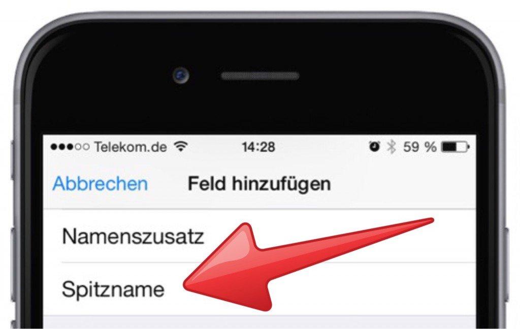 Spitzname,Rufname,iPhone,Anrufen,Kontakte,Mailen,Siri,Telefon 4