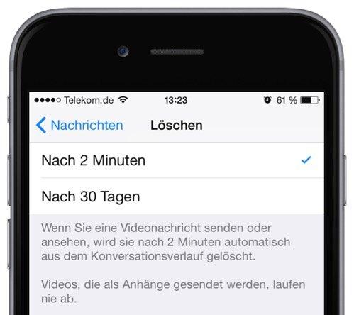 Video-Nachricht,Bild-Nachricht,Film,SMS,iMessage,iPhone,gelöscht,verschwunden,Zeitspanne,2 Minuten,30 Tage 2