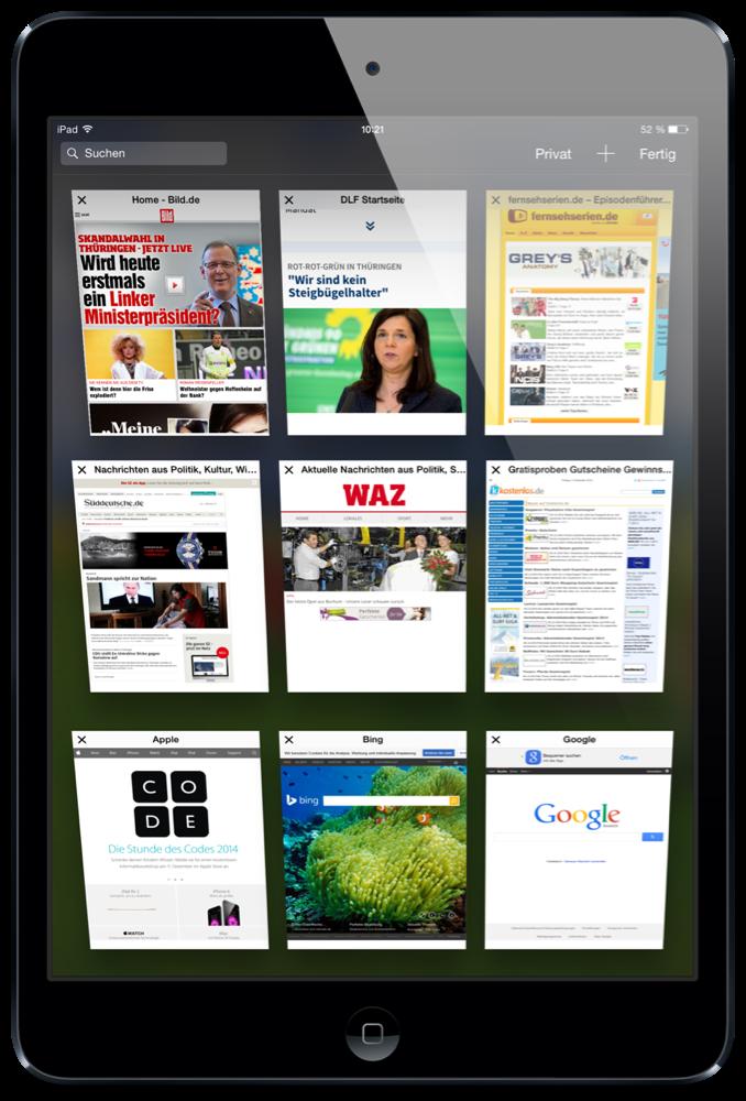 iPad,Tab,übersichtlich,anordnen,Plus,schließen,2
