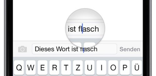 iPhone6,Wort,falsch,Lupe,Vor-Taste,Rück-Taste,Cursor,Cursortaste,Querformat,Hochformat,quer 2