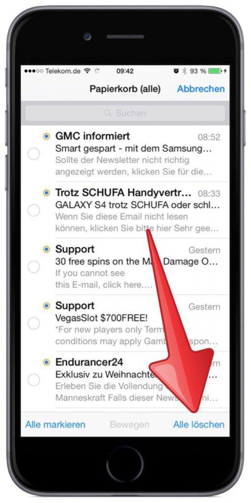 iPhone,Apple,Mail,Papierkorb,Alle Papierkörbe,löschen,gemeinsam löschen 5